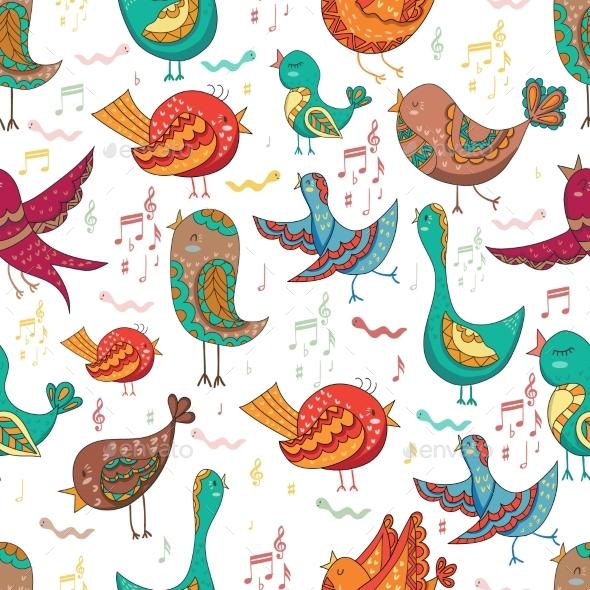 Bird Singing Summer Seamless Endless Vector - Backgrounds Decorative