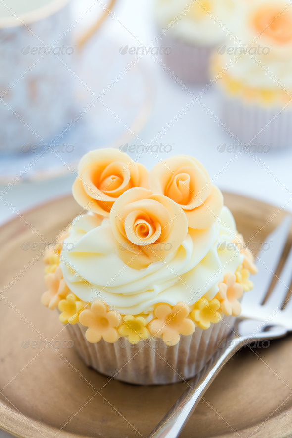 Golden cupcake - Stock Photo - Images