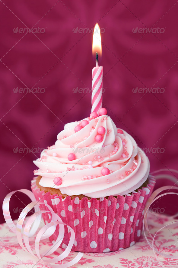 Pink birthday cupcake - Stock Photo - Images