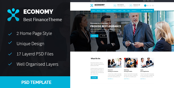 Economy - Finance & Business PSD Template - Business Corporate