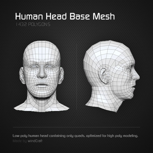 Low Poly Human Head - Base Mesh - 3DOcean Item for Sale