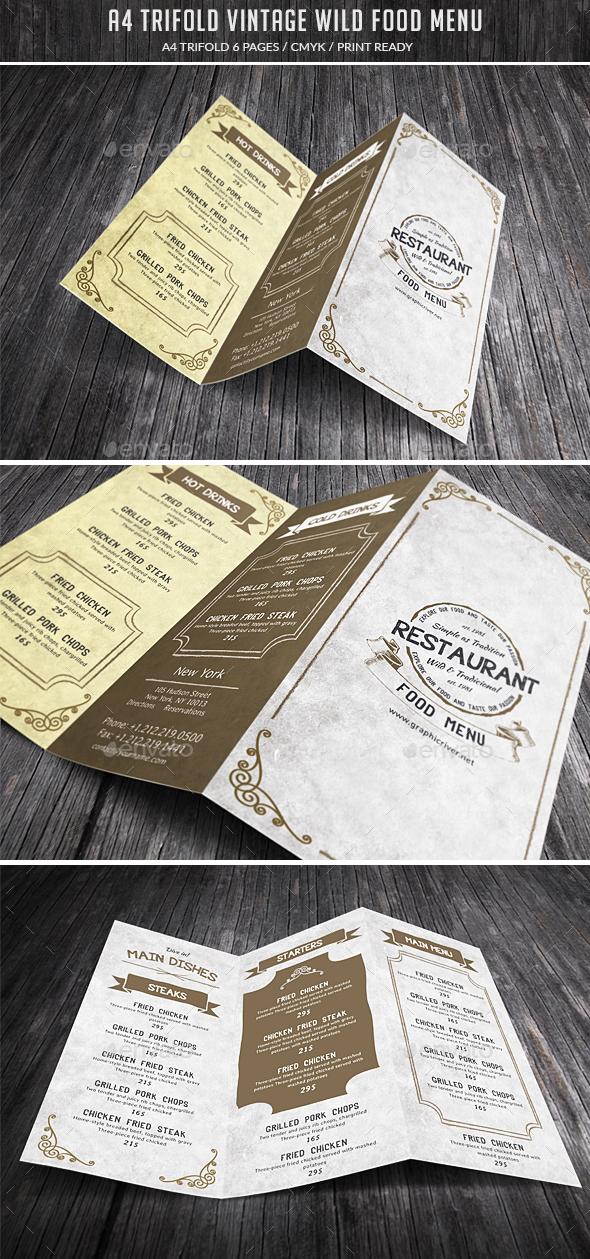 A4 Trifold Wild Food Menu - Food Menus Print Templates