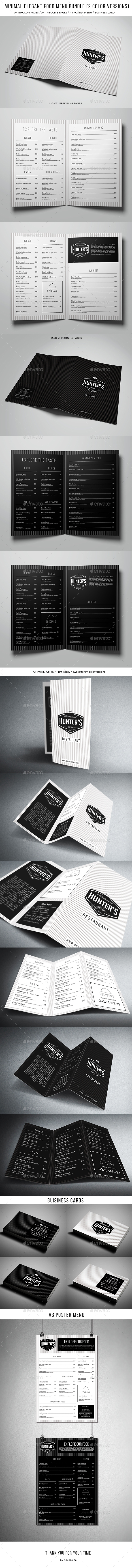 Minimal Elegant Food Menu Bundle (2 versions) - Food Menus Print Templates