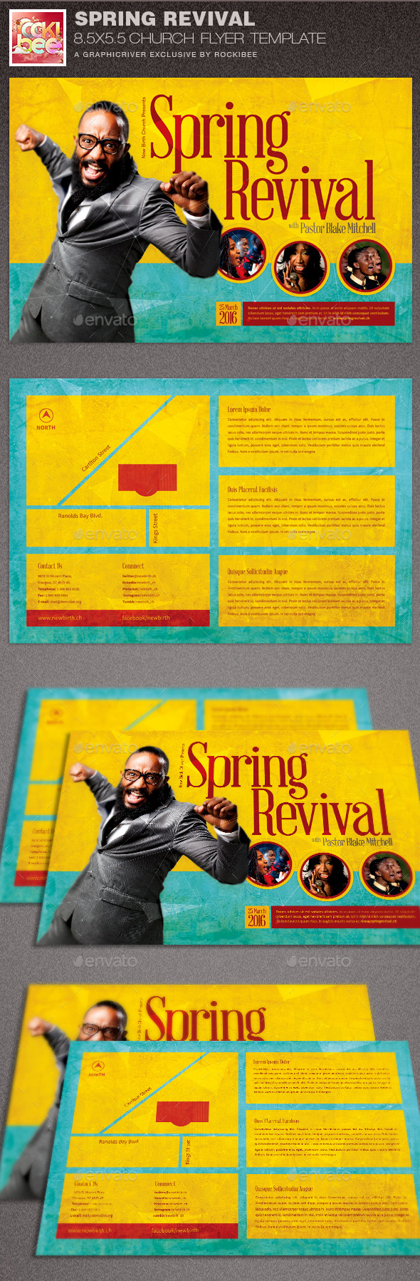 Spring revival church flyer template by rockibee for Free church revival flyer template
