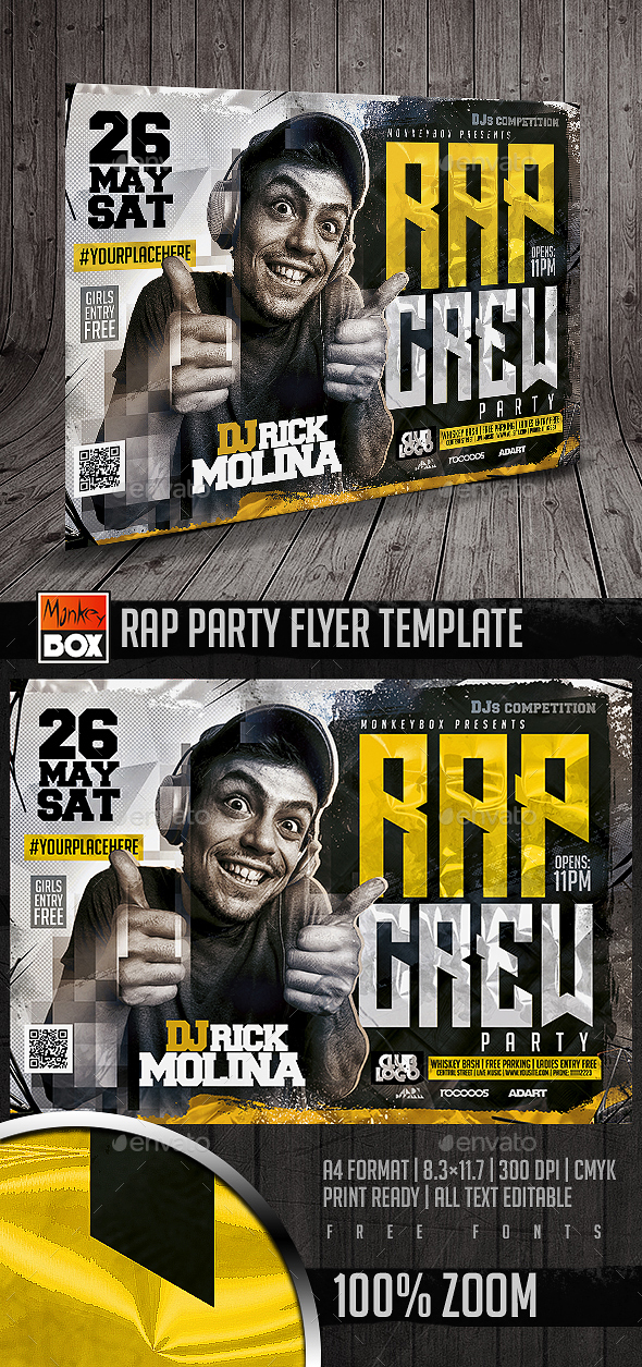 Rap Party Flyer Template - Flyers Print Templates