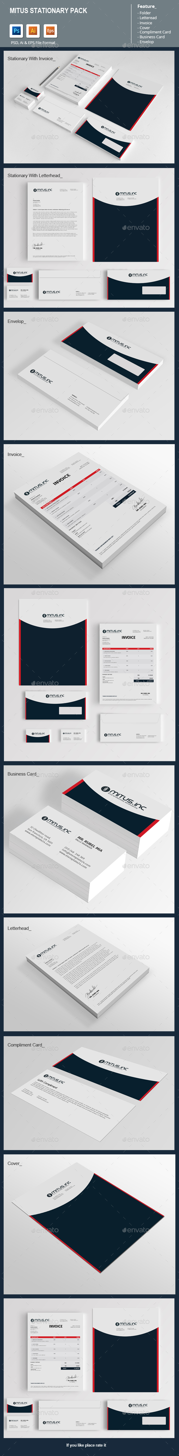Mitus Stationary Pack - Stationery Print Templates