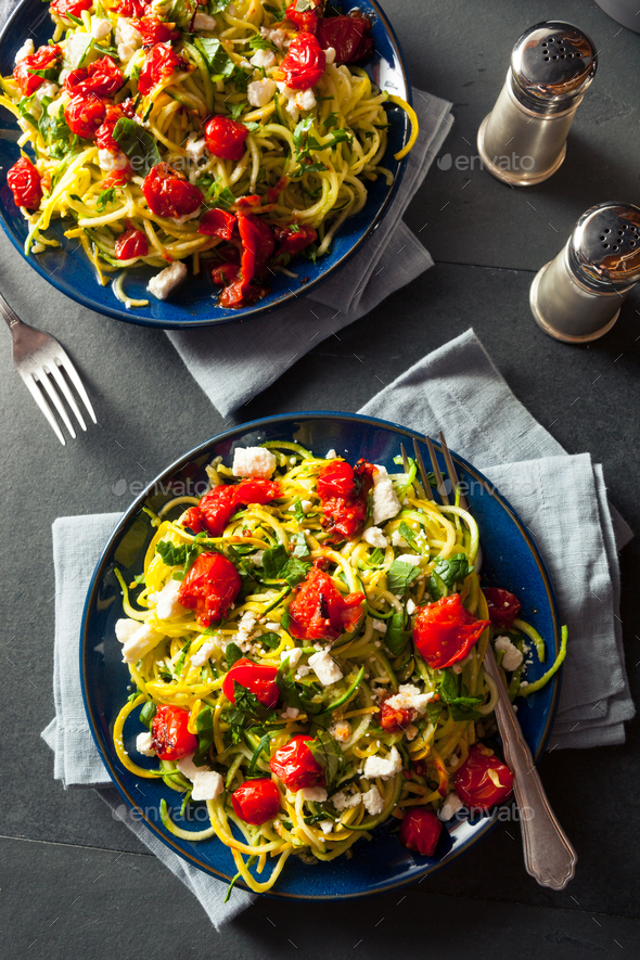 Homemade Zucchini Noodles Zoodles - Stock Photo - Images