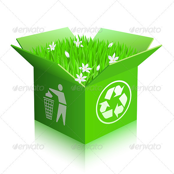 Open recycle shipping box - Decorative Vectors
