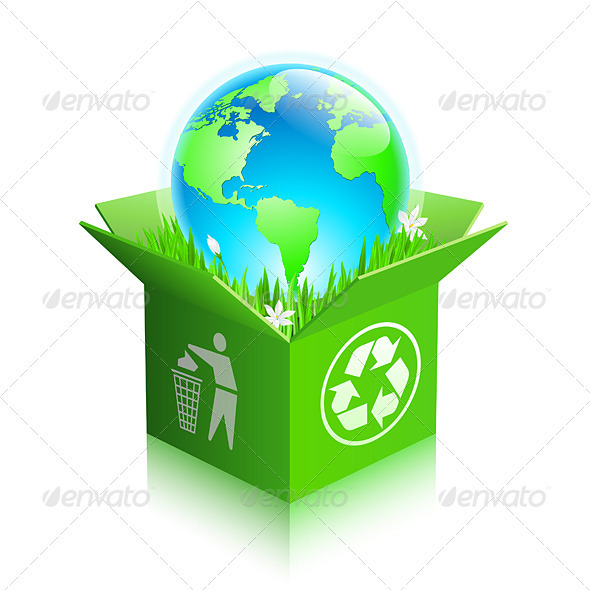 Globe in a recycle shipping box - Backgrounds Decorative