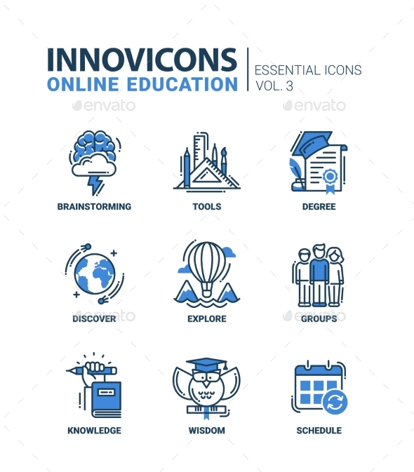 Online Education Icons Set - Technology Conceptual