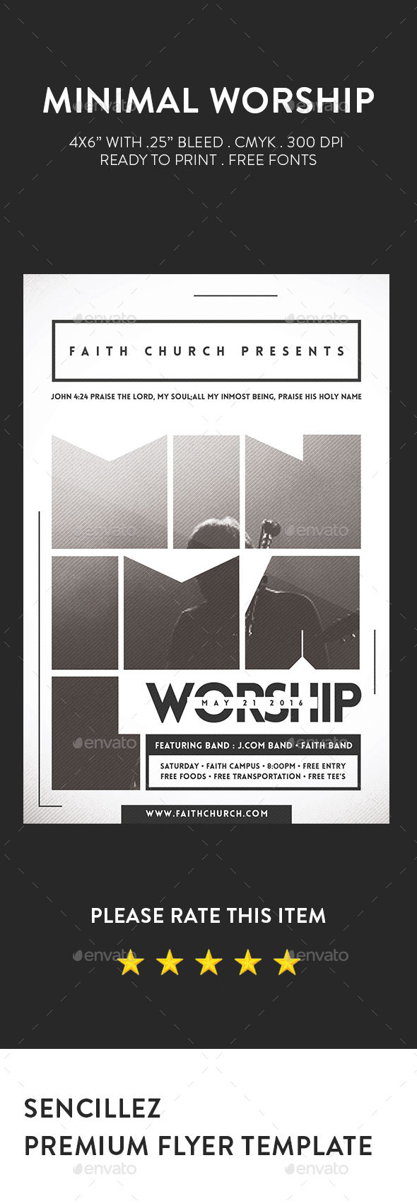 Minimal Worship Flyer - Church Flyers