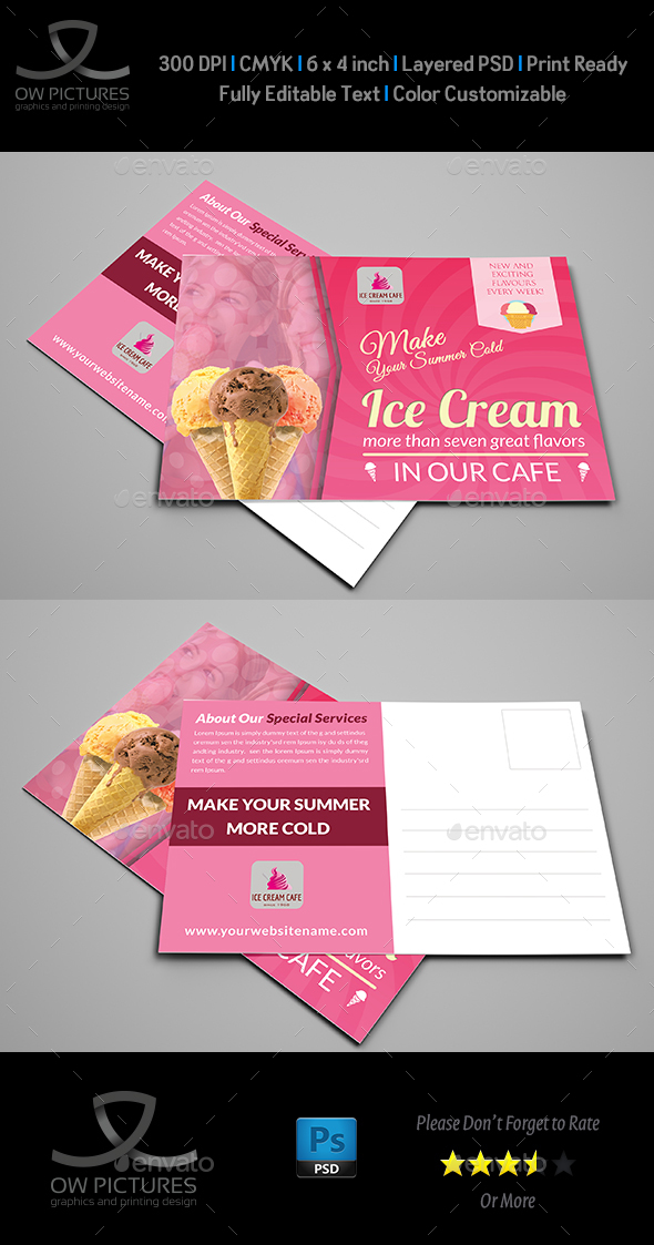 Ice Cream Postcard Template - Cards & Invites Print Templates