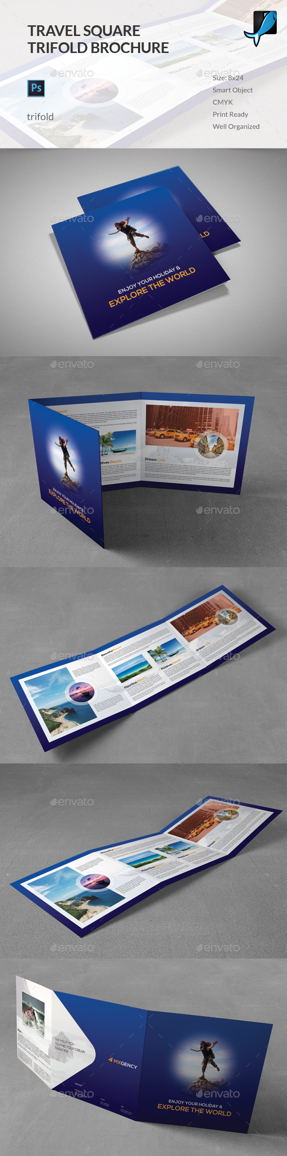 Travel Square Trifold Brochure - Corporate Brochures