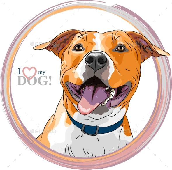 Vector Sketch Smiling Dog American Staffordshire - Animals Characters