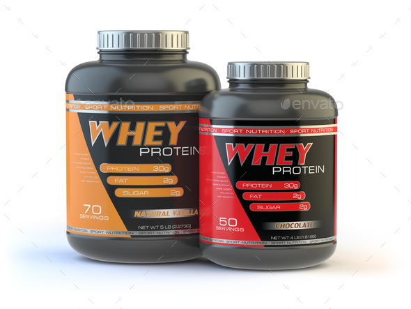Whey protein isolated on white. Sports bodybuilding  supplements - Stock Photo - Images