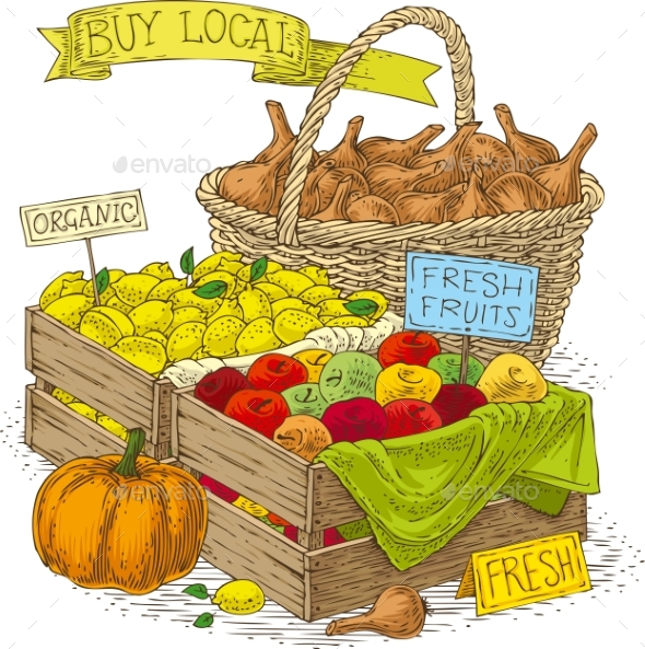 Fruits and Vegetables For Sale - Miscellaneous Vectors