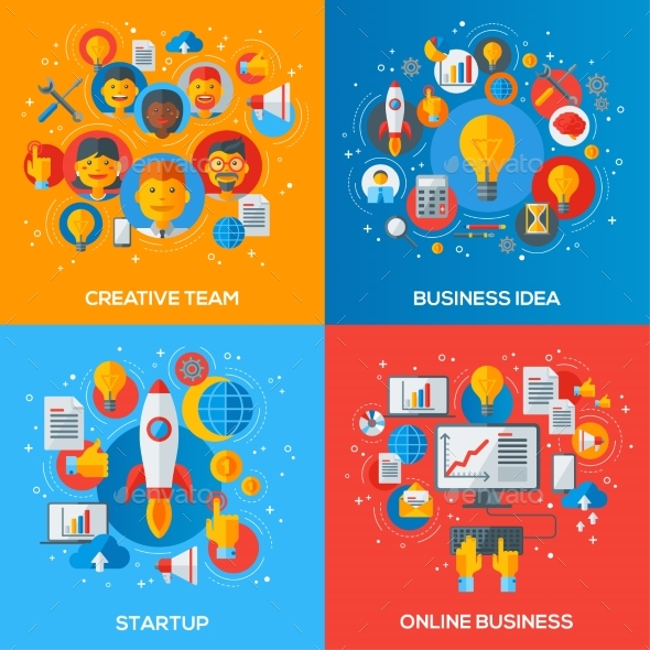 Flat Design Concepts of Business Processes - Concepts Business