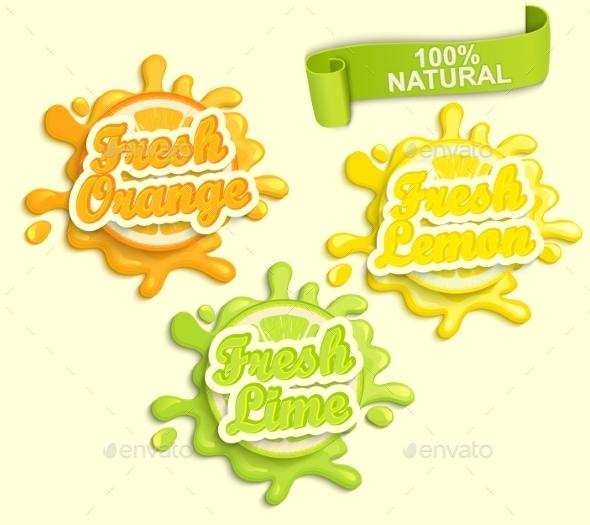 Set Of Lemon, Orange, Lime Juece Labels Splash. - Food Objects