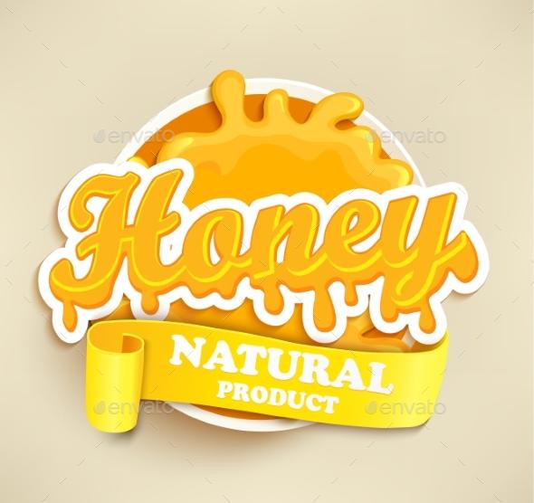 Honey Natural Label Splash. - Food Objects