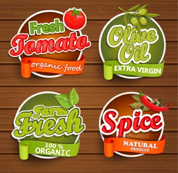 Farm Fresh, Organic Food Label. - Food Objects