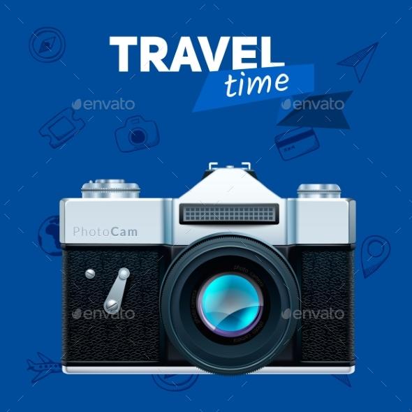 Camera And Travel Badge. - Travel Conceptual
