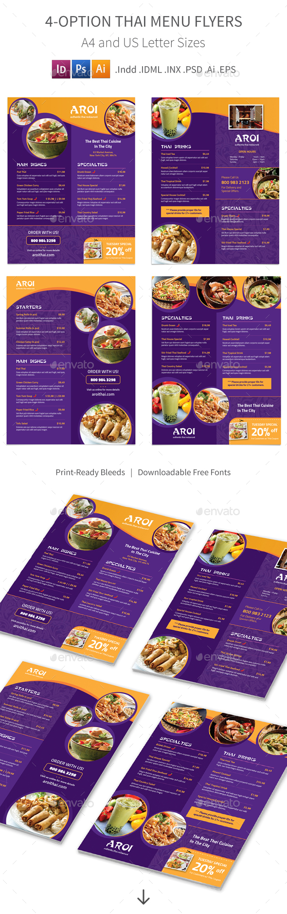 Thai Menu Flyers – 4 Options - Food Menus Print Templates