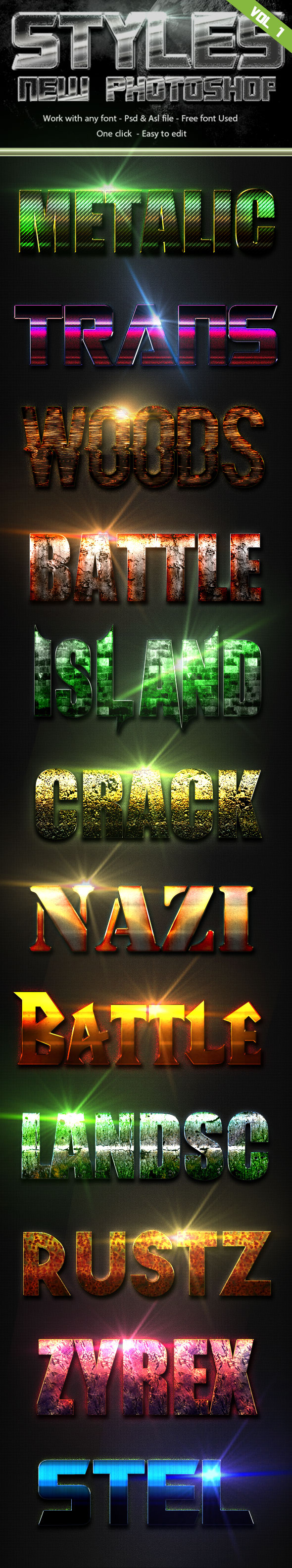 Styles New Photoshop Vol 1 - Text Effects Styles