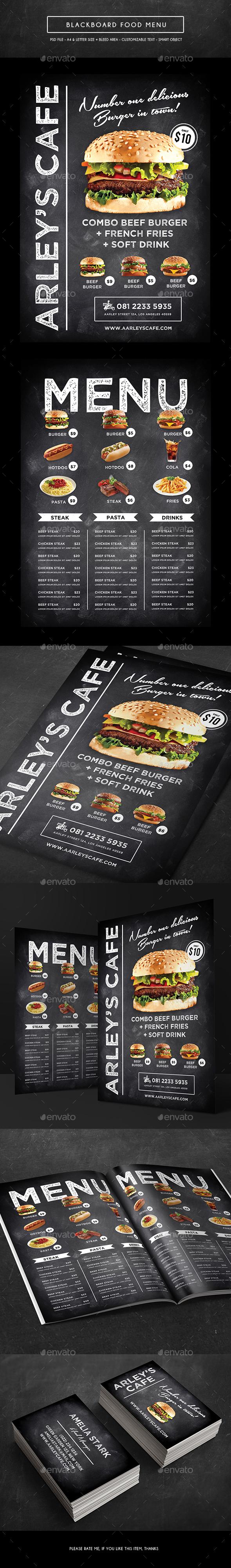 Blackboard Menu + Business Card - Food Menus Print Templates