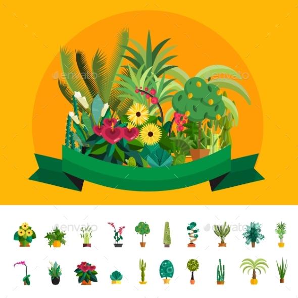 Florist shop.Plants composition.Flower Store Flat - Flowers & Plants Nature