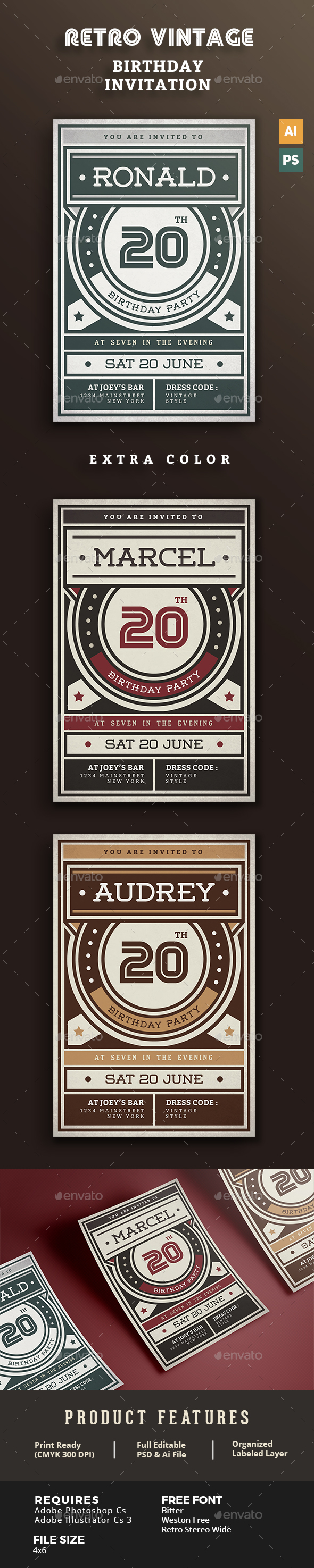 Birthday Retro/Vintage Invitation - Birthday Greeting Cards