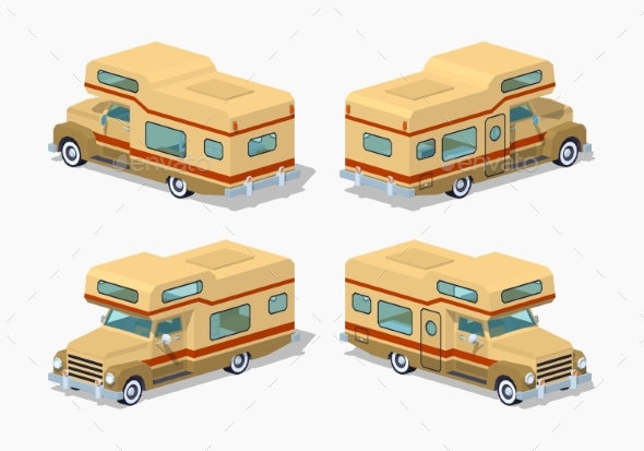 Low Poly Brown Motor Home - Man-made Objects Objects