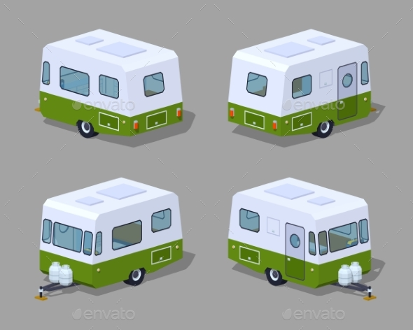 Low Poly Retro Motor Home - Man-made Objects Objects