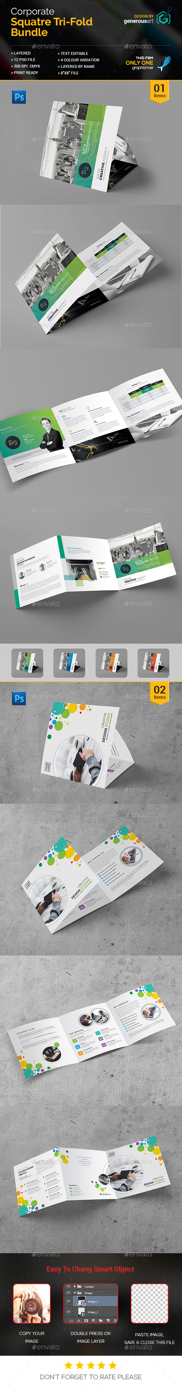 Bundle_Square Tri-Fold 2 in 1 - Brochures Print Templates