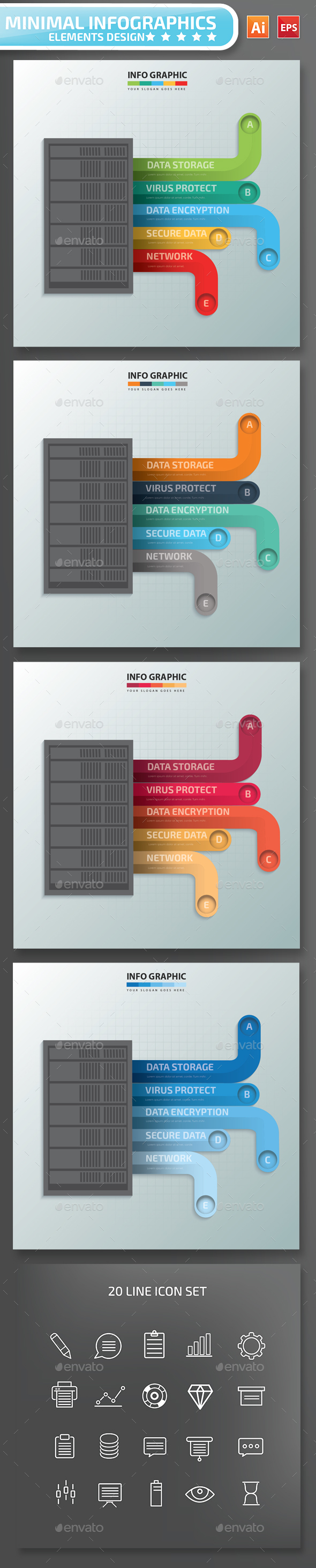 Minimal Data Server infographic Design - Infographics