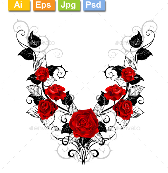 Design of Red Roses - Tattoos Vectors