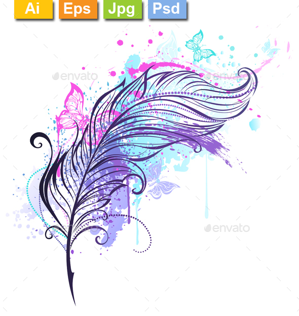 Feather with Butterflies - Tattoos Vectors