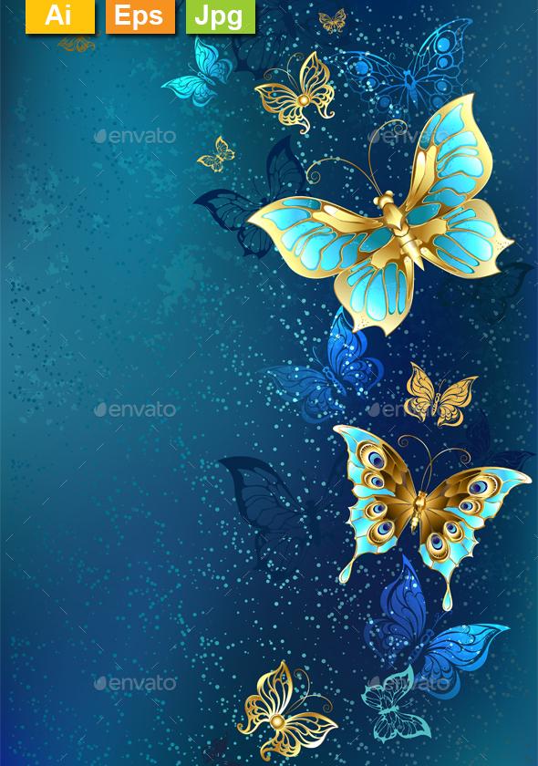 Golden Butterflies on a Blue Background - Backgrounds Decorative