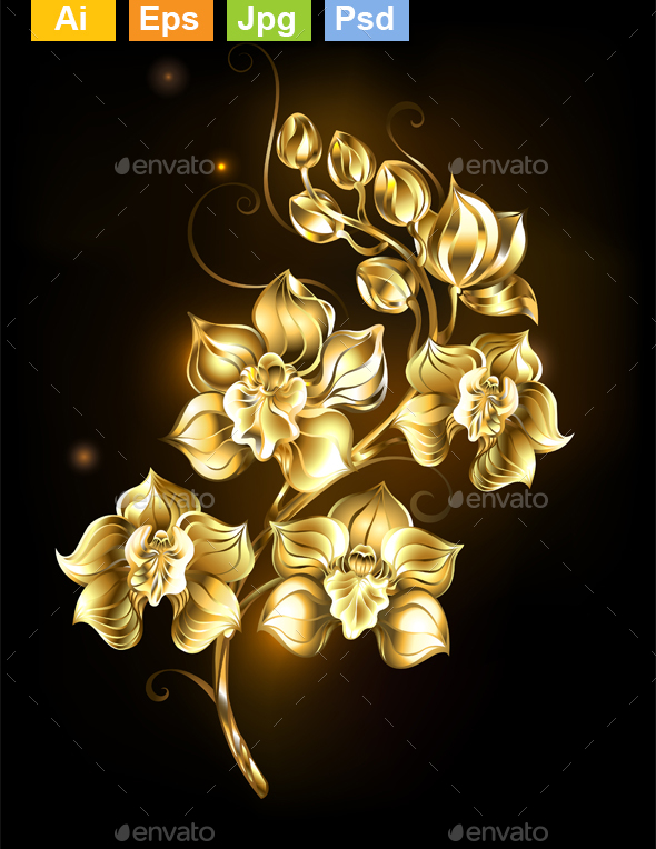 Shining Golden Orchid - Flowers & Plants Nature
