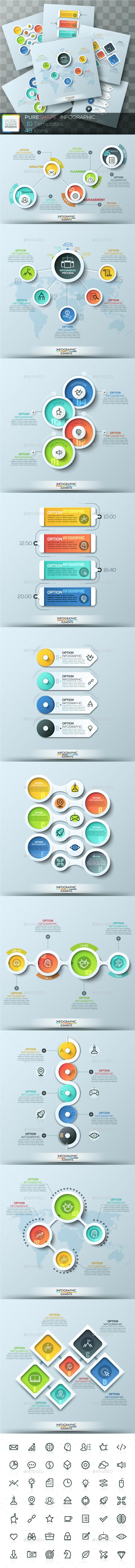 Pure Shape Infographic. Set 2 - Infographics