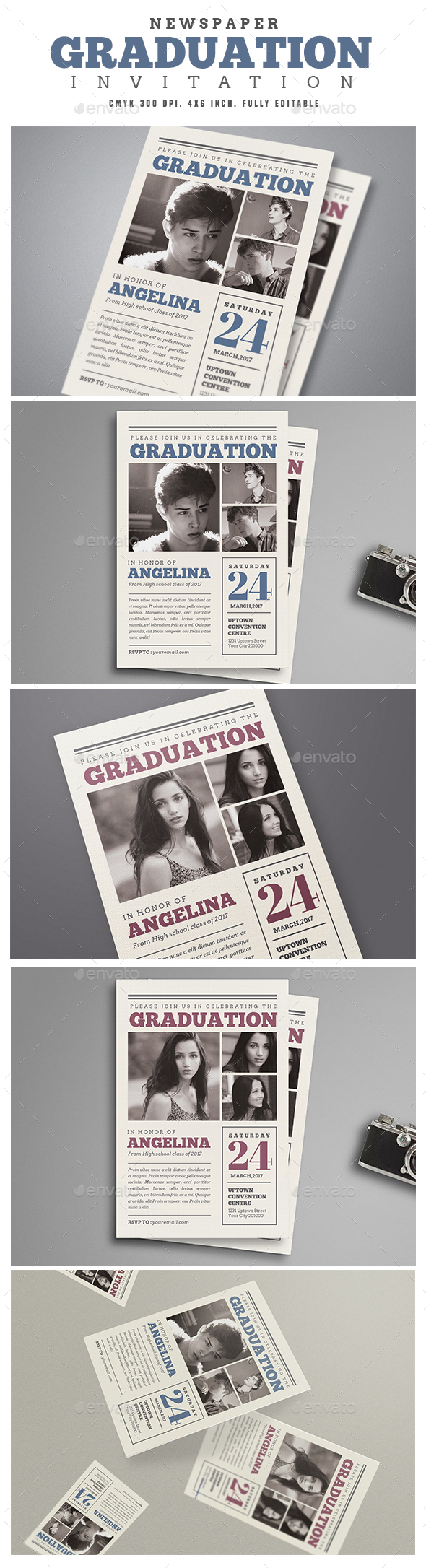 Newspaper Graduation invitation - Cards & Invites Print Templates