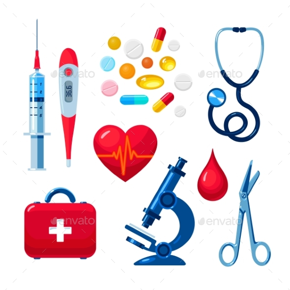 Set of Medical Icons Isolated - Health/Medicine Conceptual