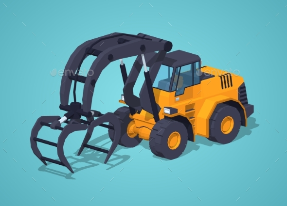 Low Poly Yellow Log Loader - Man-made Objects Objects