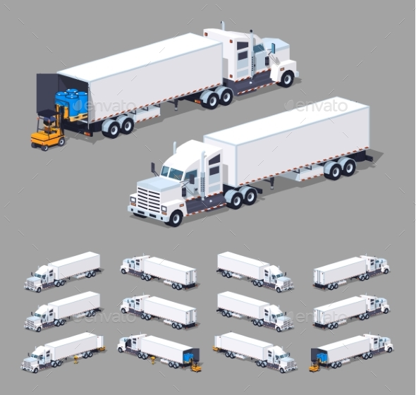 Low Poly Heavy American White Truck - Man-made Objects Objects