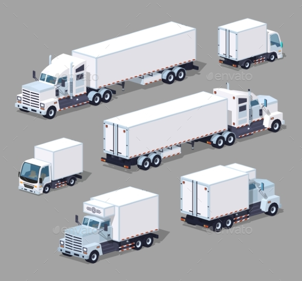 Set Of The White Low Poly Trucks - Man-made Objects Objects