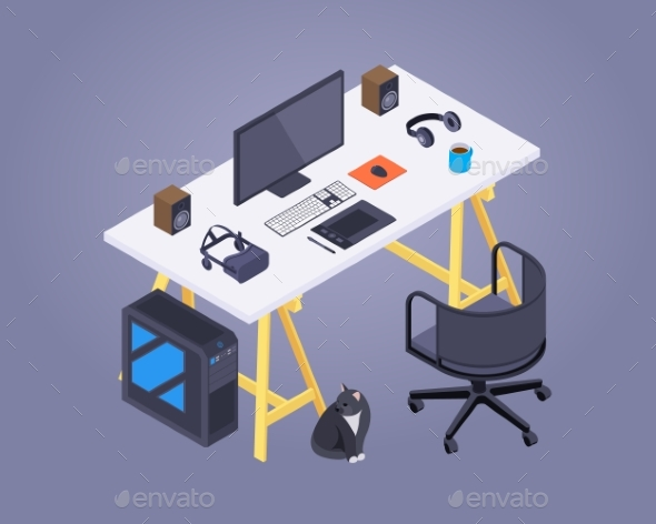 Isometric Artist Workplace - Man-made Objects Objects