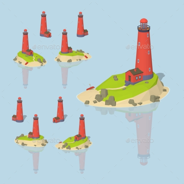 Low Poly Red Lighthouse - Buildings Objects