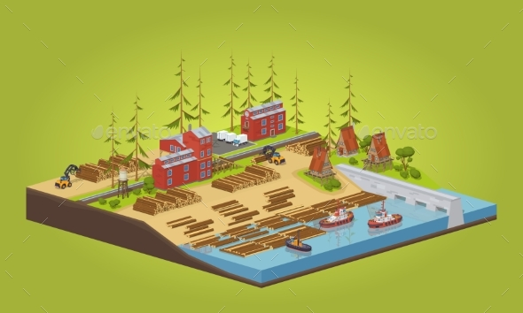 Lumber Mill Near The River - Industries Business