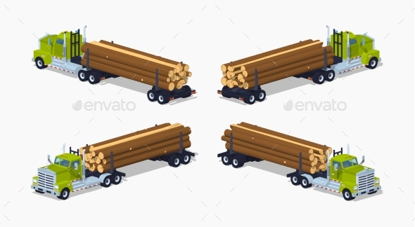 Low Poly Log Truck With The Pile Of Logs - Man-made Objects Objects