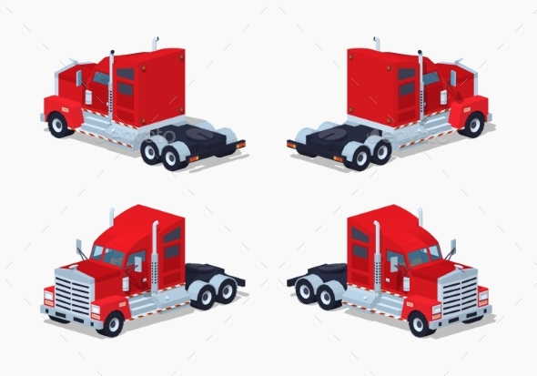 Low Poly Red Heavy American Truck - Man-made Objects Objects