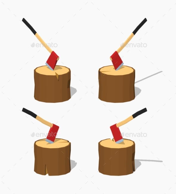 Low Poly Hatchet In The Stump - Objects Vectors